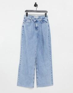 Голубые выбеленные джинсы в винтажном стиле с высокой талией Stradivarius-Голубой