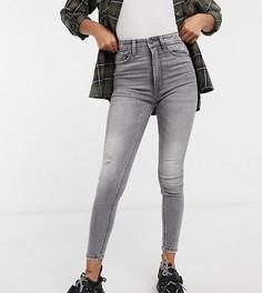 Серые облегающие джинсы с очень завышенной талией Stradivarius Petite-Серый