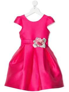 Mimilù расклешенное платье с цветочной аппликацией
