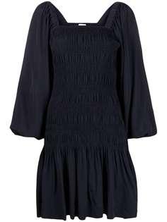 GANNI плиссированное платье мини с длинными рукавами