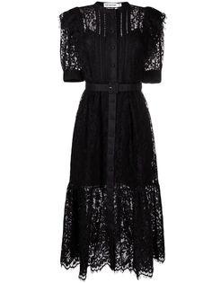 Self-Portrait кружевное платье миди с короткими рукавами