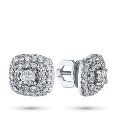 Пусеты из белого золота с бриллиантами э0901пс09174000 ЭПЛ Якутские Бриллианты