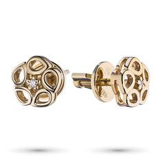 Пусеты из красного золота с бриллиантом э0201пс09176100 ЭПЛ Якутские Бриллианты
