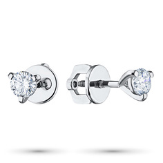 Пусеты из белого золота с бриллиантом э0901пс05112600 ЭПЛ Якутские Бриллианты