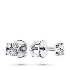 Пусеты из белого золота с бриллиантом э0901пс12123400 ЭПЛ Якутские Бриллианты