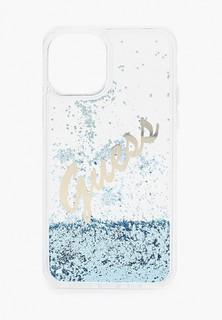 Чехол для iPhone Guess 12/12 Pro (6.1), Liquid glitter Script logo Blue