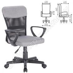 Кресло оператора с подлокотниками, серое brabix jet mg-315 531840