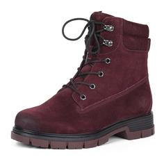 Ботинки Бордовые ботинки из велюра на шнуровке Rieker