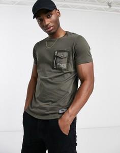 Зеленая футболка с карманом Brave Soul-Зеленый цвет