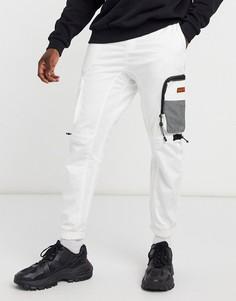 Белые джоггеры карго с несколькими карманами Bershka-Белый