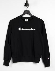Черный свитшот с крупным логотипом Champion-Черный цвет