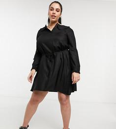 Черное платье мини с широким воротником Vero Moda Curve-Белый