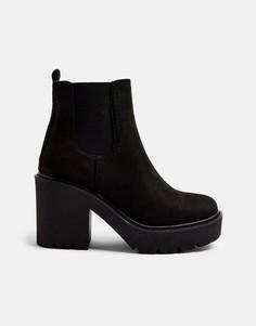 Черные ботинки челси на массивном каблуке Topshop-Черный цвет
