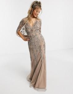 Бежево-розовое платье макси с кейпом и цветочной вышивкой ASOS DESIGN-Розовый цвет