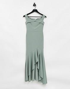 Шалфейно-зеленое платье подружки невесты миди с открытыми плечами и ассиметричной юбкой годе Little Mistress-Зеленый цвет