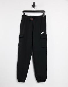Черные флисовые брюки карго свободного кроя Nike-Черный цвет