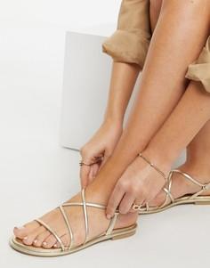 Золотистые сандалии с ремешками ALDO-Золотистый