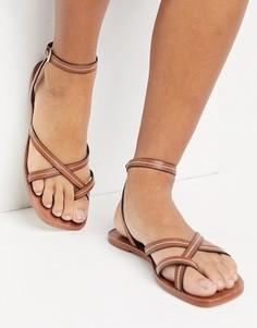 Светло-коричневые сандалии с ремешками ALDO-Коричневый цвет