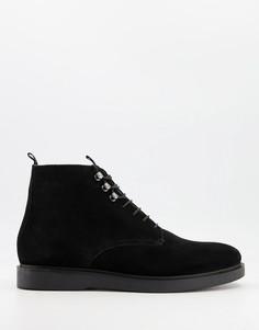 Черные замшевые ботинки нашнуровке H by Hudson Battle-Черный