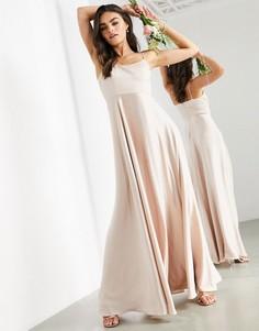 Розовое атласное платье макси на бретельках с квадратным вырезом ASOS EDITION-Розовый цвет