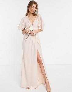 Платье макси с рукавами клеш, сатиновой отделкой и юбкой на запах ASOS DESIGN Bridesmaid-Розовый цвет