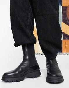 Черные кожаные ботинки челси на массивной подошве с уплотненной вставкой на щиколотке ASOS DESIGN-Черный цвет
