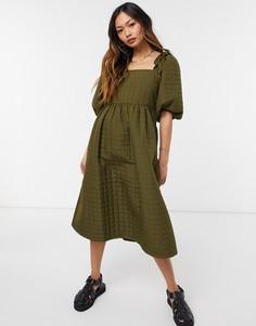 Стеганое платье миди цвета хаки с квадратным вырезом Selected Femme-Зеленый цвет