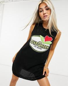 Черное платье без рукавов с логотипом Love Moschino Abito-Черный цвет