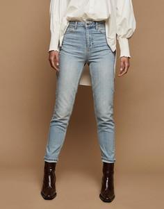 Голубые выбеленные суженные книзу джинсы в винтажном стиле Topshop-Голубой