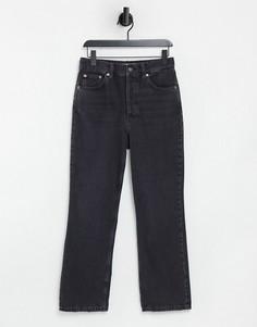 Черные выбеленные джинсы с широкими прямыми штанинами Topshop Kort-Черный цвет