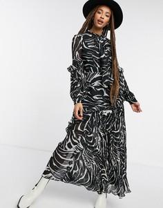 Плиссированное платье миди с зебровым принтом Topshop-Черный цвет