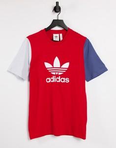 Красная футболка бойфренда в стиле колор блок с логотипом adidas Originals adicolor-Красный