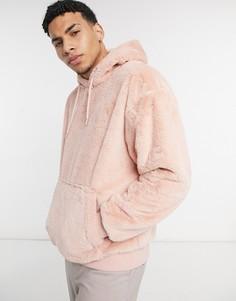 Плюшевый худи розового цвета Topman-Розовый цвет