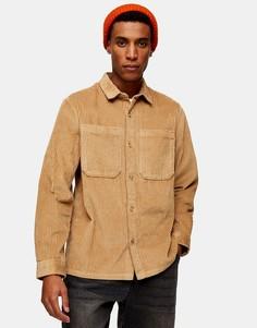 Светло-бежевая вельветовая рубашка навыпускTopman-Нейтральный