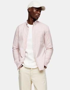 Розовая оксфордская рубашка облегающего кроя изэластичной ткани Topman-Розовый цвет