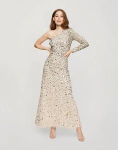 Платье макси на одно плечо с золотистой отделкой Miss Selfridge-Нейтральный