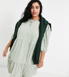 Ярусное свободное платье миди шалфейно-зеленого цвета Only Curve-Зеленый цвет