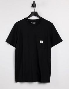 Черная футболка с карманом и логотипом Selected Homme-Черный цвет
