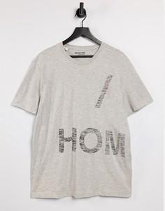 """Серая меланжевая футболка свободного кроя с принтом """"CPH"""" на спине Selected Homme-Серый"""