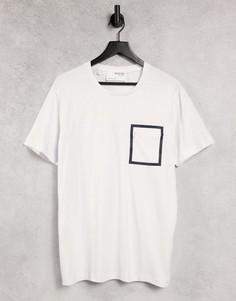 Белая футболка с карманом намолнии Selected Homme-Черный цвет