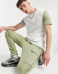 Джоггеры карго цвета хаки с манжетами Nike Colourblock-Зеленый цвет