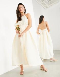 Свадебное платье с халтером, плиссировкой и низким вырезом на спине ASOS EDITION Clementine-Розовый цвет