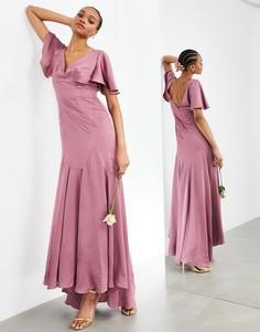 Светло-лиловое атласное платье макси с рукавами клеш ASOS EDITION-Фиолетовый цвет