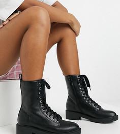 Черные ботинки на массивной подошве со шнуровкой Simply Be Extra Wide Fit-Черный цвет