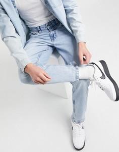 Светло-голубые джинсы прямого кроя в винтажном стиле Bershka-Голубой