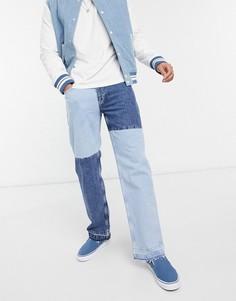 Светло-голубые джинсы в стиле пэтчворк 90-х Bershka-Голубой
