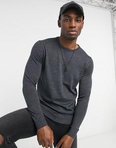 Джемпер из мериносовой шерсти с круглым вырезом Selected Homme new-Серый