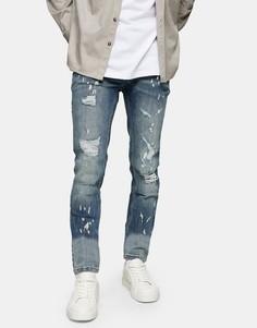 Выбеленные зауженные джинсы со рваной отделкой и заплатками Topman-Голубой