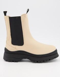 Черно-кремовые ботинки на массивной подошве Selected Femme-Белый
