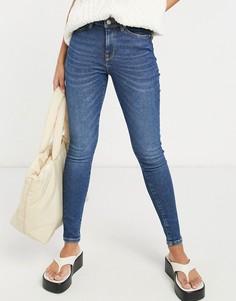 Темно-синие зауженные джинсы с классической талией Selected Femme Sophia-Голубой